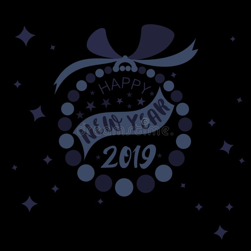 Vector style simple bauble ring designed with blue and black flat color circles with Happy New Year 2019 royalty free illustration