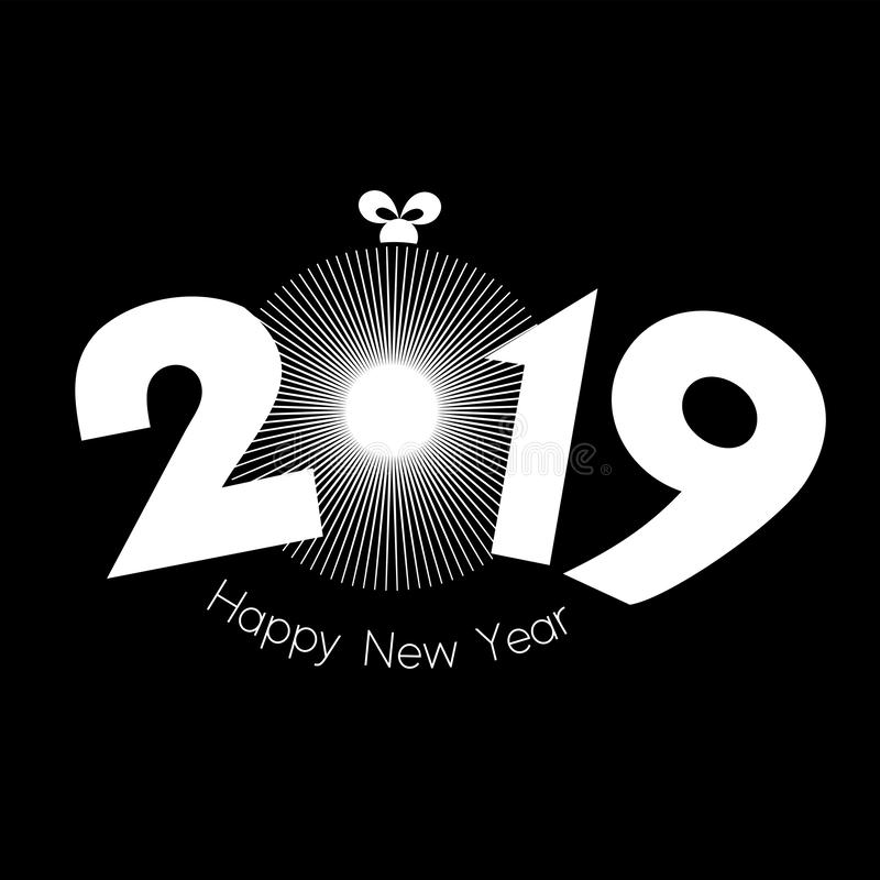 Vector style simple design of a single radial bauble burst with Happy New Year 2019 royalty free illustration