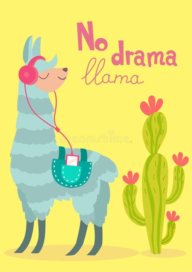 Vector stylish cartoon lama with cactus. No drama llama poster. Vector stylish cartoon lama with cactus. No drama llama poster vector illustration