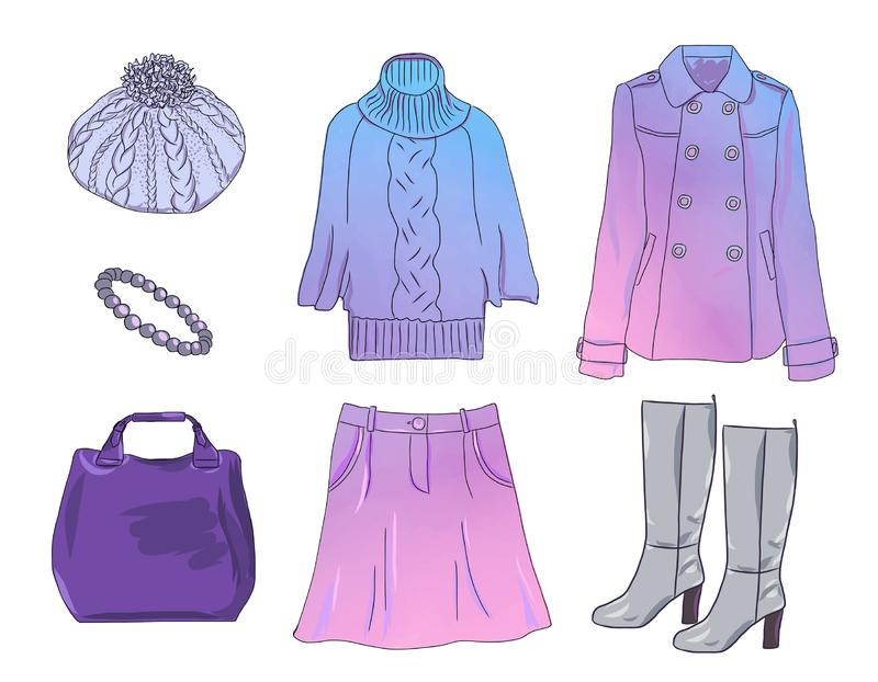 c5fe95944417 Vector stylish fashion set of women clothes royalty free illustration