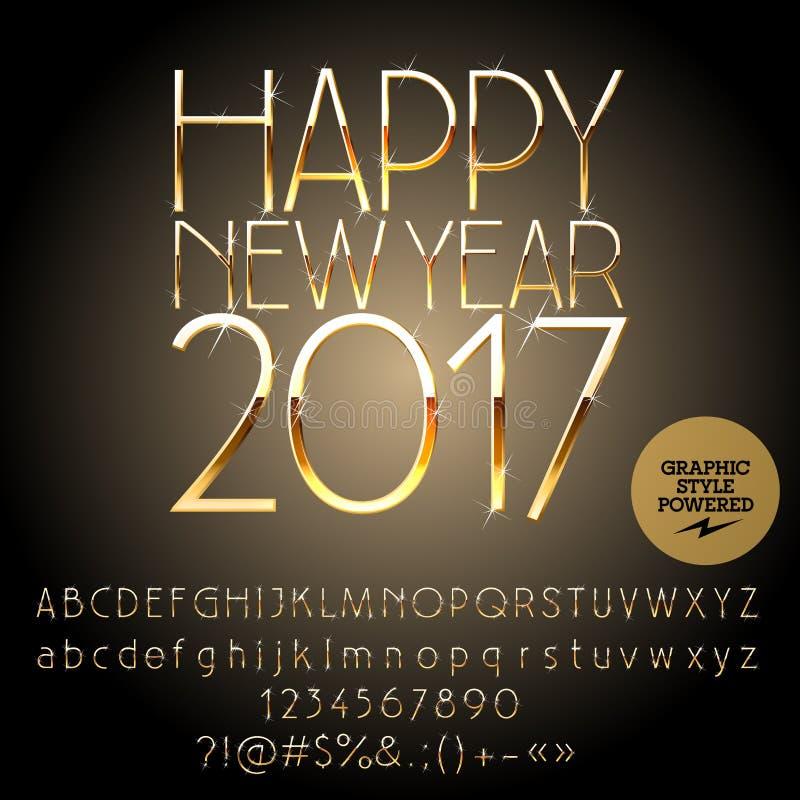 Vector Stylish Happy New Year 2017 Greeting Card Stock Vector
