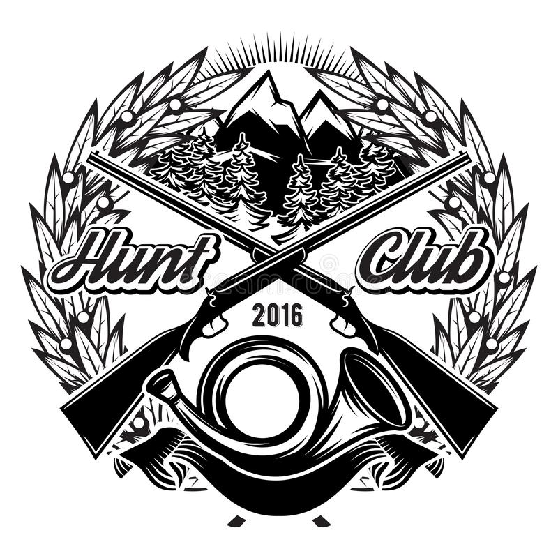 Vector stylish monochrome hunting club template with horn and mountains vector illustration