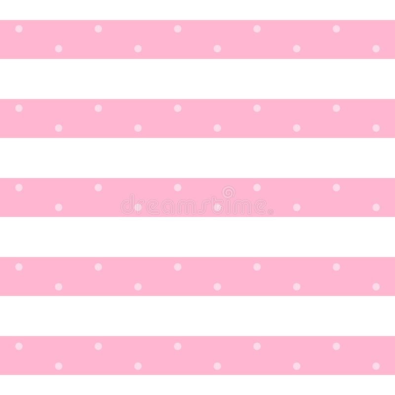Vector stylish seamless pattern in pink and white colors. Horizontal stripes with dots. Print for fabric, textile, wallpaper. Wrapping paper stock illustration
