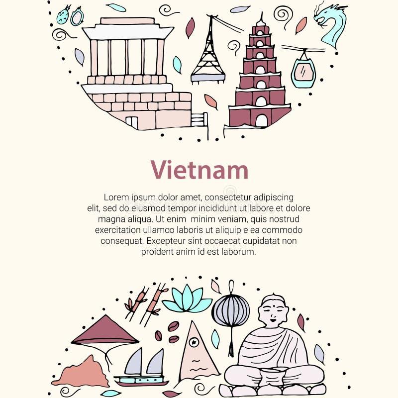 Vector Stylized Symbols Of Vietnam Stock Illustration