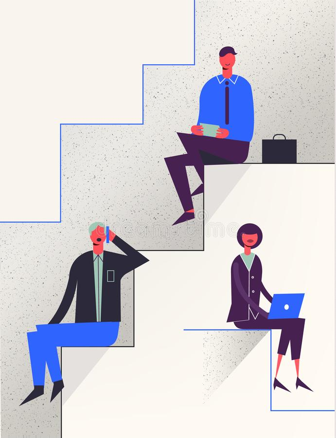 Vector stylized characters. Business illustration. Career stairs concept. royalty free illustration