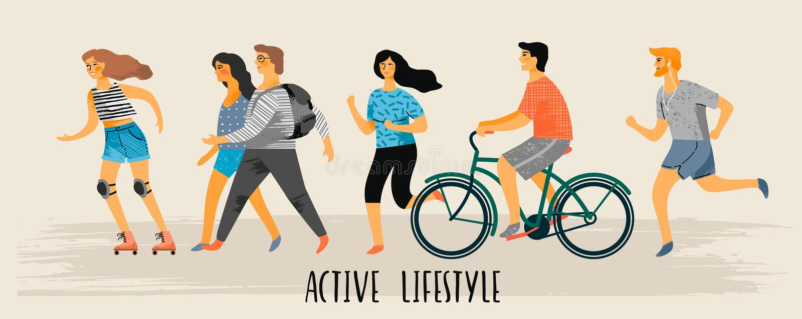 Vector stylized illustration of active young people. Healthy lifestyle. Roller skates, running, bicycle, walk, yoga. Design element in pastel colors with royalty free illustration