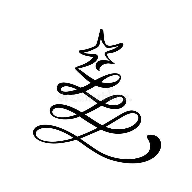 Vector stylized logo, scribbled Christmas tree with star on top. Xmas element of design for greeting card, banner vector illustration