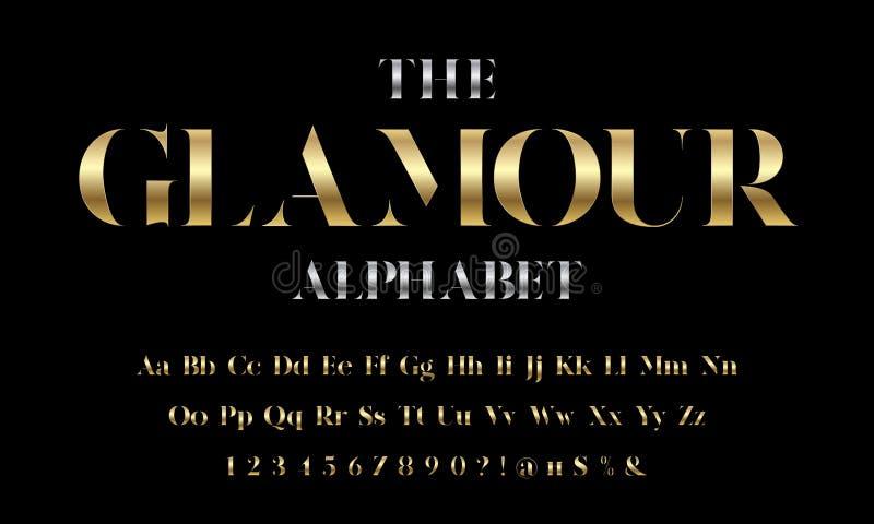 Glamour font. Vector of stylized modern glamorous font and alphabet design stock illustration