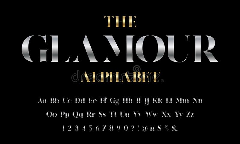 Glamour font. Vector of stylized modern glamorous font and alphabet design vector illustration