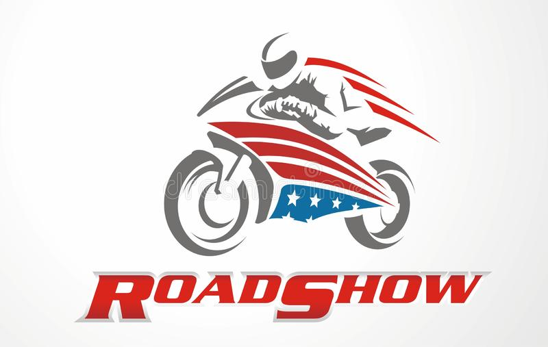 Vector stylized motorcycle logo. Race logo. Vector stylized motorcycle logo. Graphic illustration for motorbike. Logo for fair road show. Race logo vector illustration