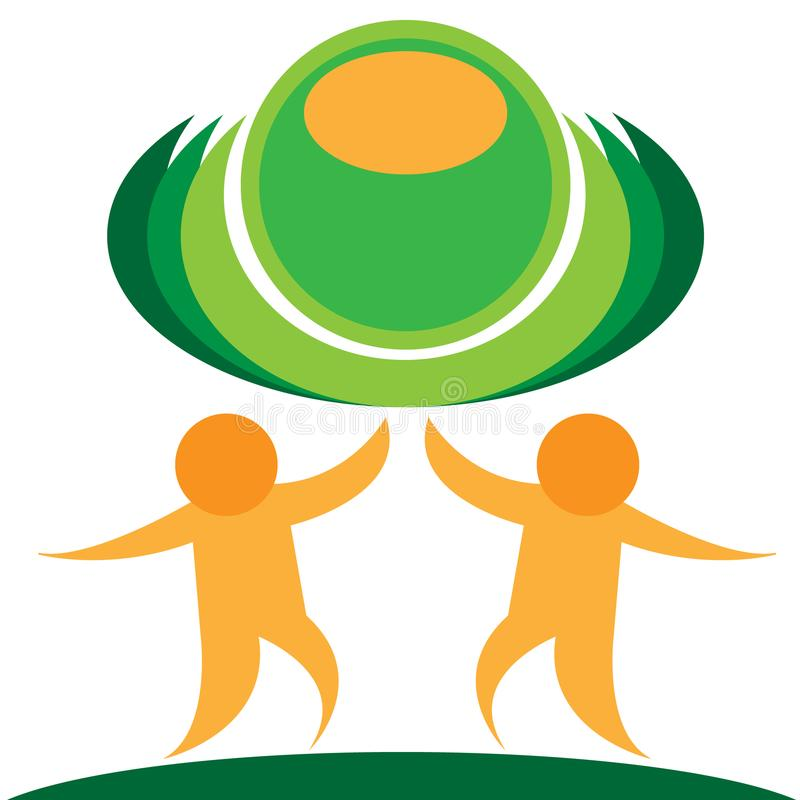Vector stylized orange people with green planet, isolated on white background.  stock illustration