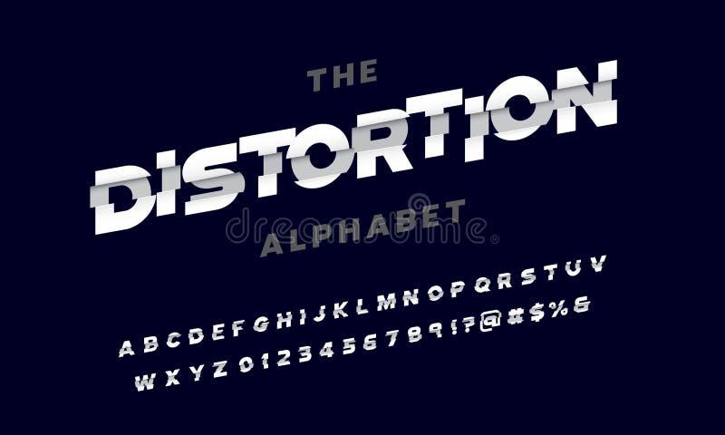 Shredded font. Vector of stylized shredded font and alphabet design stock illustration