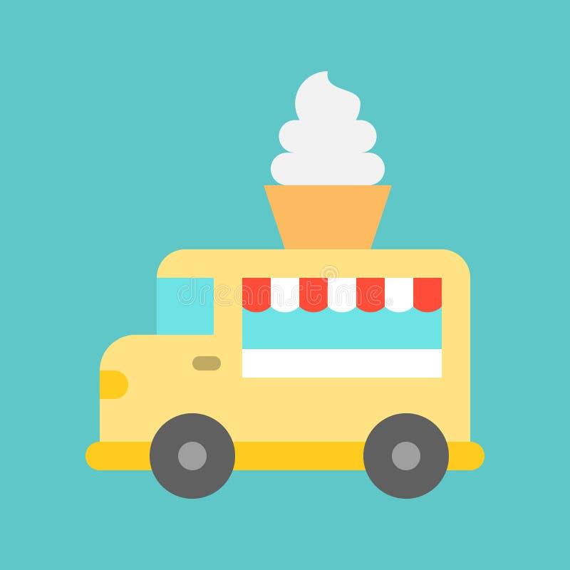 Vector suave del camión del servicio, icono plano del estilo del camión de la comida libre illustration