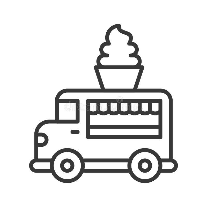 Vector suave del camión del servicio, línea icono editable del camión de la comida del movimiento del estilo stock de ilustración