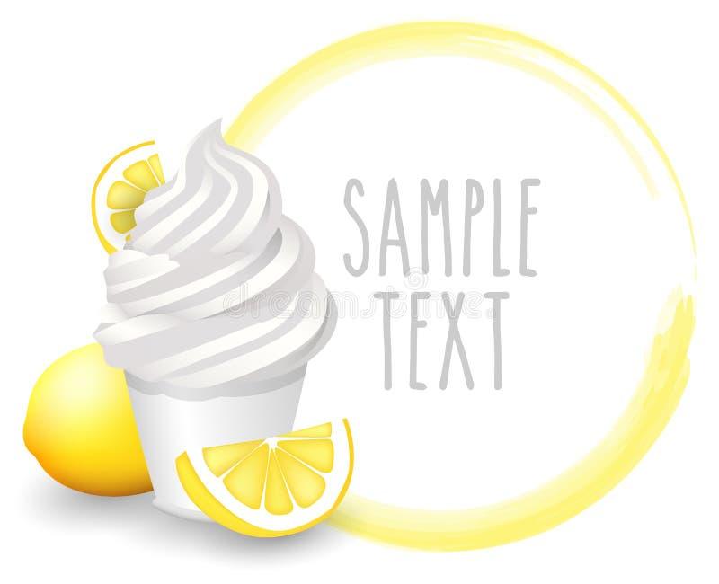 Vector suave del limón de la variedad de la taza del helado con el icono blanco del fondo stock de ilustración