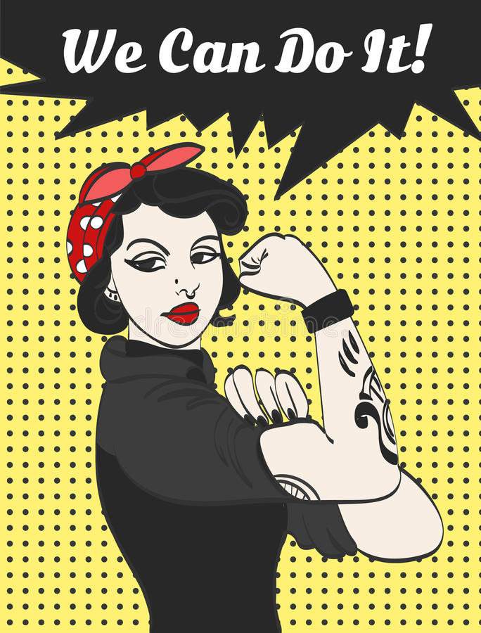 Vector subculture punk gothic woman with signature we can do it stock illustration