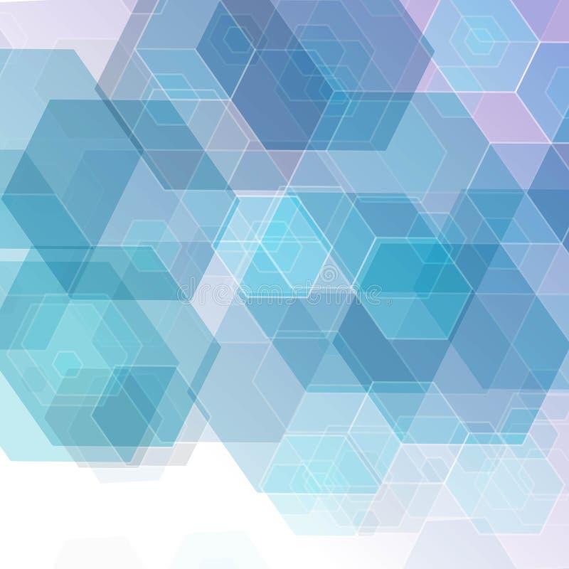 Vector subtiele lichtblauwe abstracte geometrische hexagonale achtergrond Eps 10 stock illustratie
