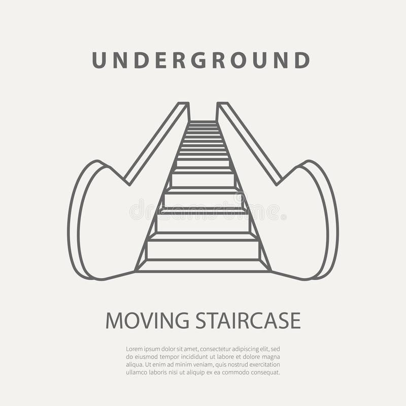 Vector subway moving staircase icon or badge. Graphic design elements in outline style for packaging, apps, website. Advertising, poster and brochure for royalty free illustration