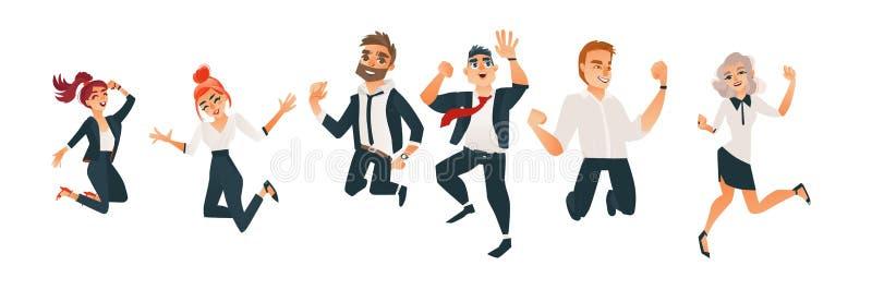 Vector succesvolle bedrijfsman, vrouwen springende reeks vector illustratie