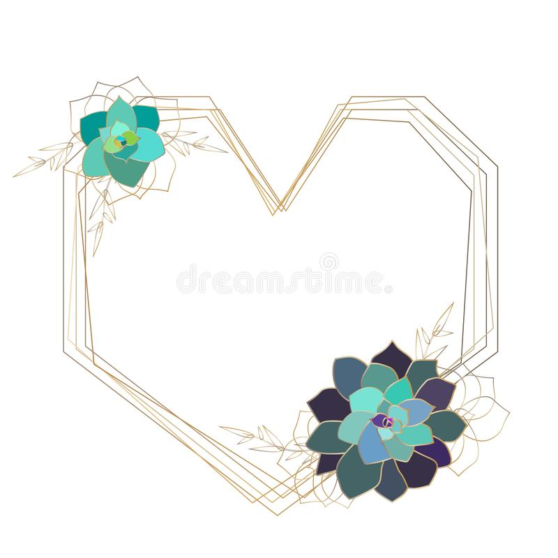 Vector succulent geometric frame,template, heart. Gold colored elements vector illustration