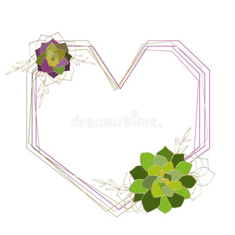 Vector succulent geometric frame,template, heart. Gold colored elements royalty free illustration