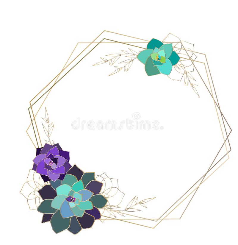 Vector succulent geometric frame,template, polygon. Gold colored elements royalty free illustration