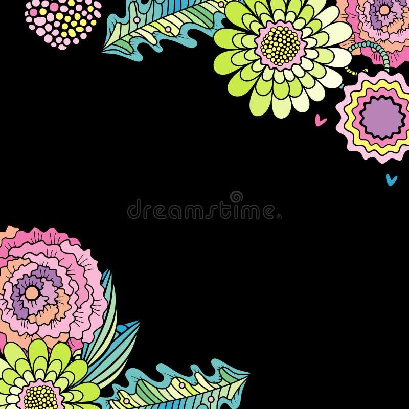 Vector suculento de la flor, color de rosa y de la hoja de la decoración stock de ilustración