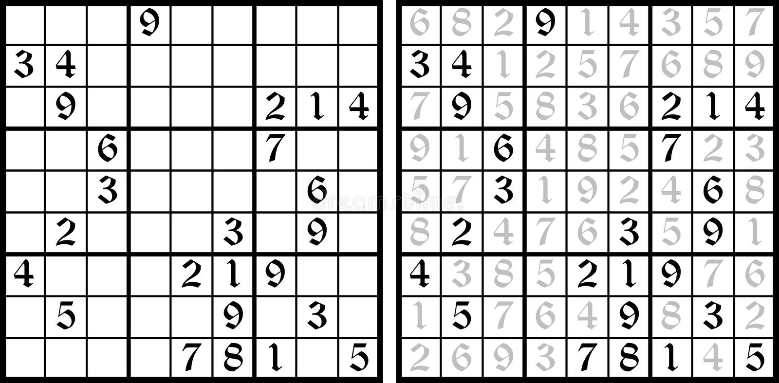 Vector Sudoku game. Task for logic. Mathematical puzzle with the answer vector illustration