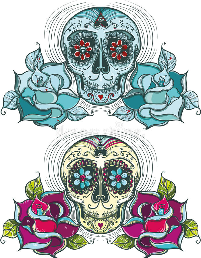 download vector sugar skull with roses colorful and unicolour stock vector image 37804637
