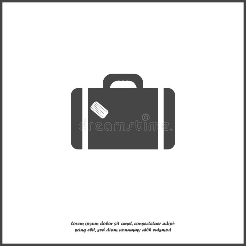 Vector suitcase icon on white isolated background vector illustration