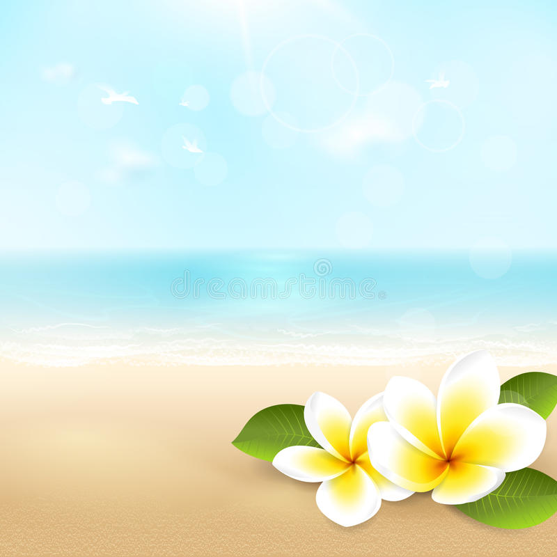 Background Of Blurred Beach And Sea Waves With Bokeh: Vector Summer Background With Beach, Sea, Waves And