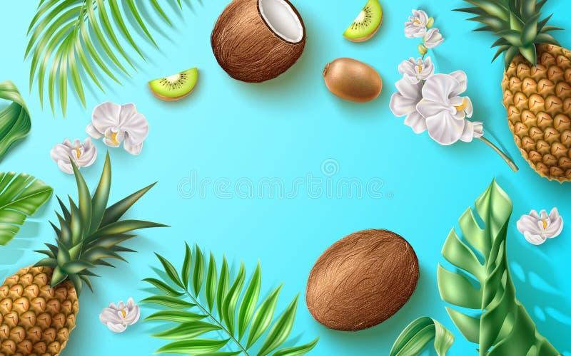 Vector summer banner fruit tropical flower leaves royalty free illustration