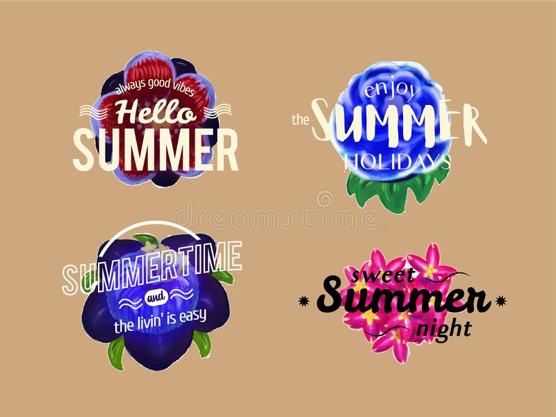 Vector summer banners with flower stock photos