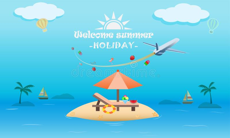 Vector of summer beach activity concept, welcome to holiday summer royalty free illustration