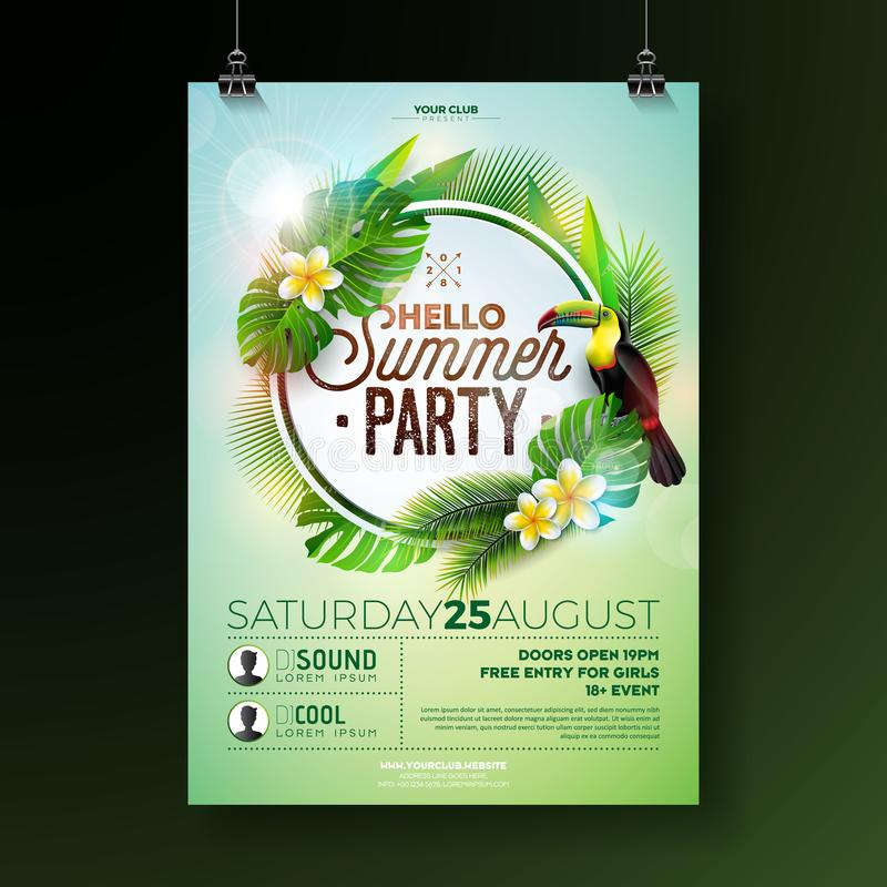 Vector Summer Beach Party Flyer Design with flower toucan on exotic leaf background. Summer nature floral elements stock illustration