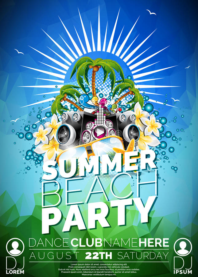 Vector Summer Beach Party Flyer Design with speakers vector illustration