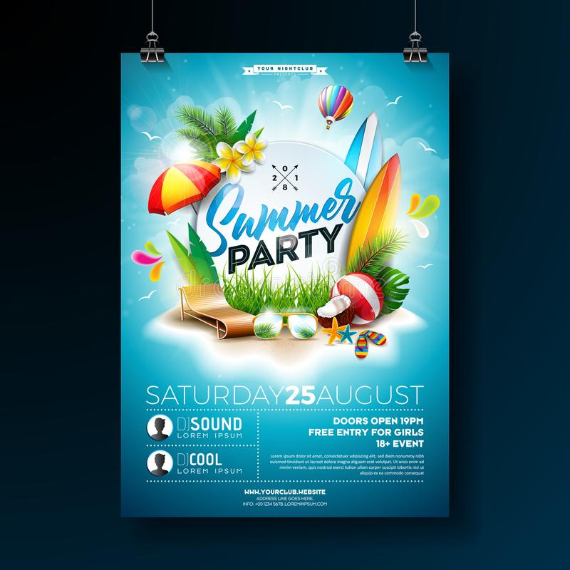 Vector Summer Beach Party Flyer Design with typographic elements on blue cloudy sky background. Summer nature floral vector illustration