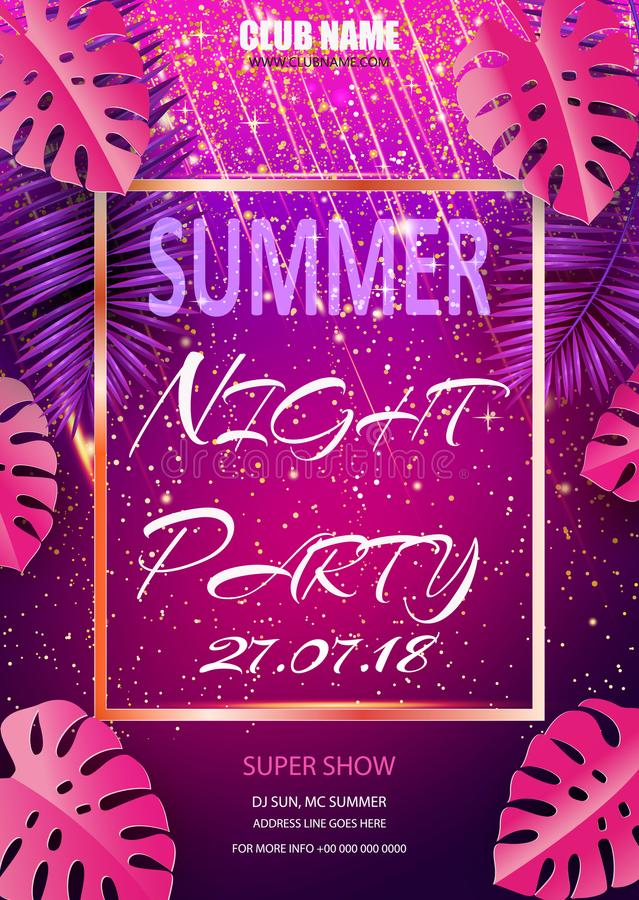 Vector Summer Beach Party Flyer Design with typographic elements and copy space on color palm background. royalty free illustration
