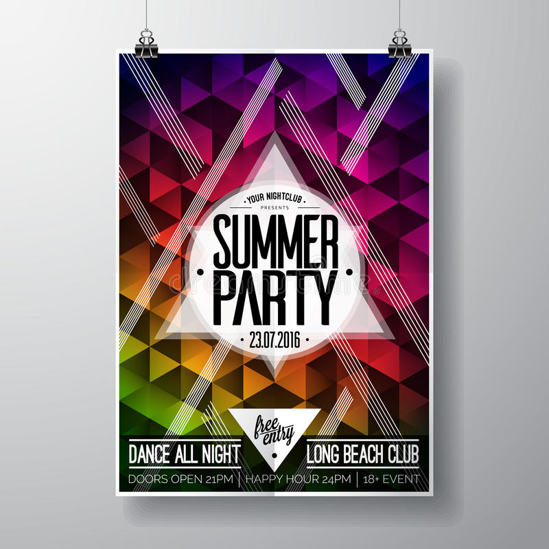 Vector Summer Beach Party Flyer Design with typographic elements and copy space on color triangle background. royalty free illustration