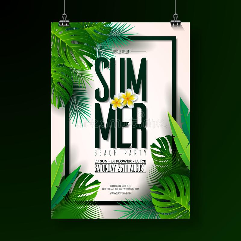 Vector Summer Beach Party Flyer Design with typographic elements on exotic leaf background. Summer nature floral stock illustration