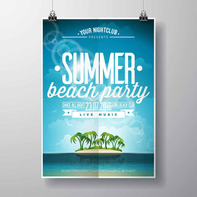 Vector Summer Beach Party Flyer Design with typographic elements on ocean landscape background. stock illustration