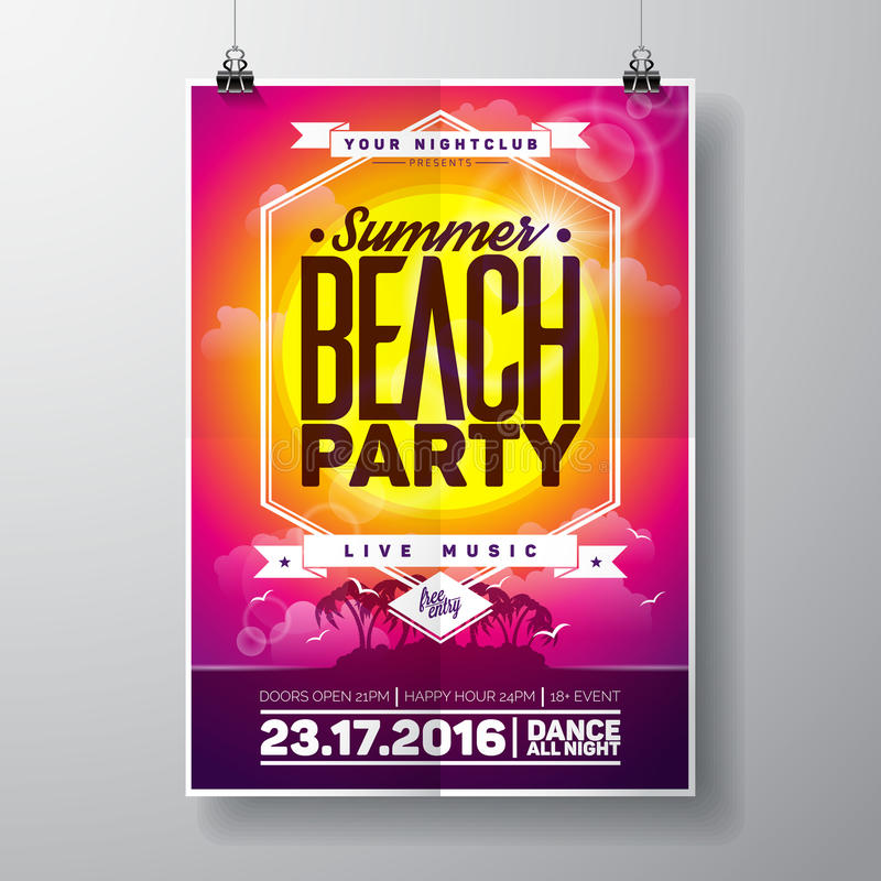Vector Summer Beach Party Flyer Design with typographic elements on ocean landscape background. royalty free illustration