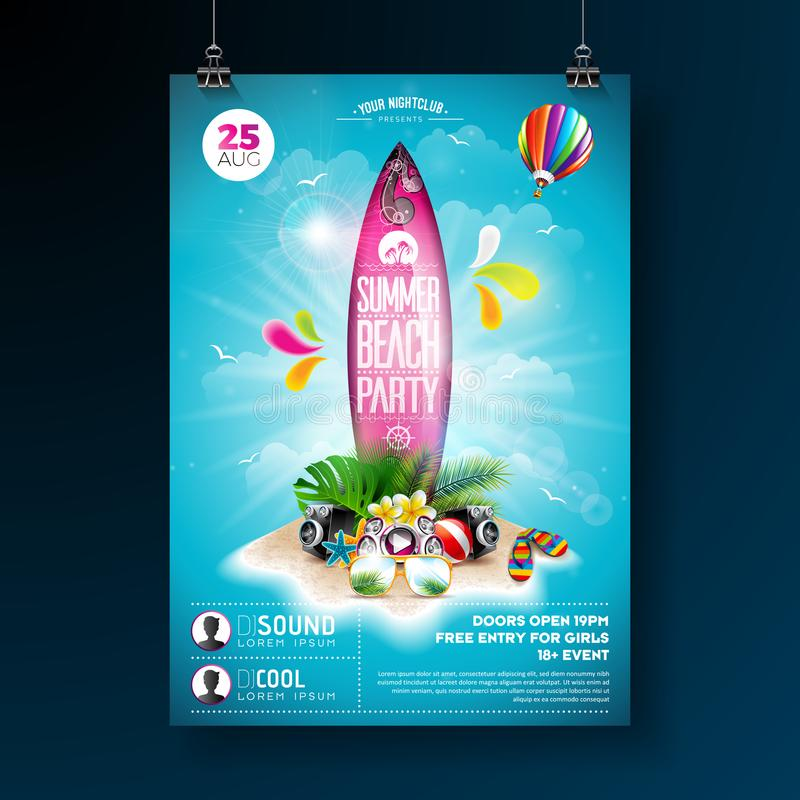 Vector Summer Beach Party Flyer Design with typographic elements on surf board. Summer nature floral elements, tropical. Plants, flower, beach ball and surf royalty free illustration