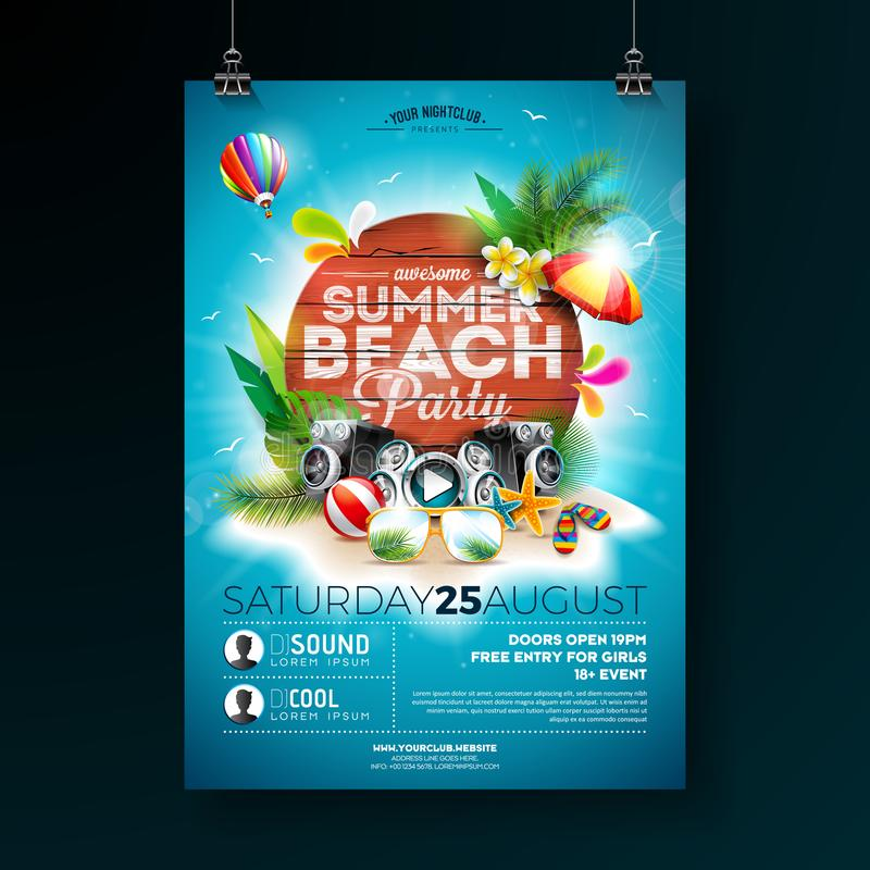Vector Summer Beach Party Flyer Design with typographic elements on wood texture background. Summer nature floral vector illustration