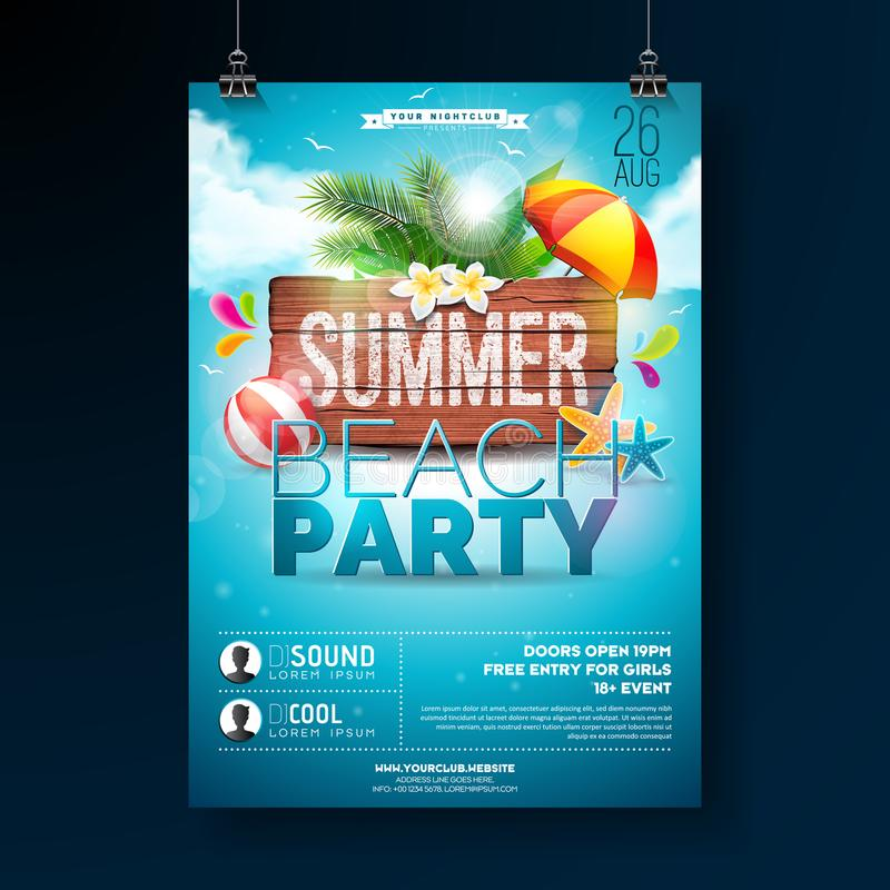 Vector Summer Beach Party Flyer Design with typographic elements on wood texture background. Summer nature floral stock illustration