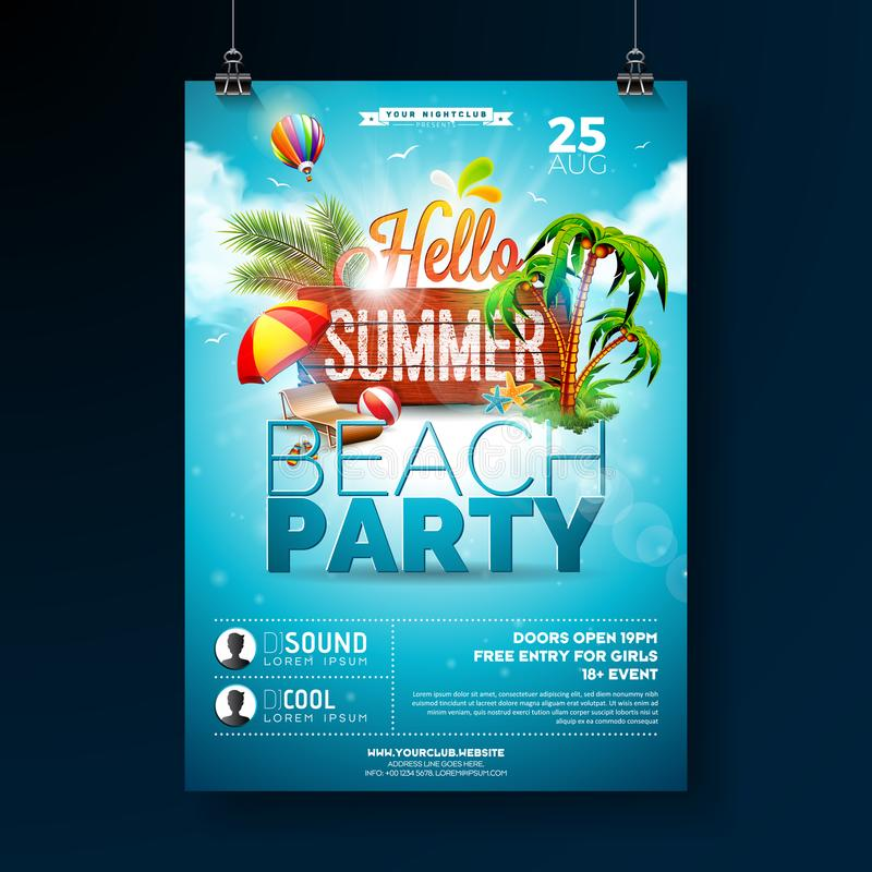Vector Summer Beach Party Flyer Design with typographic elements on wood texture background. Summer nature floral royalty free illustration