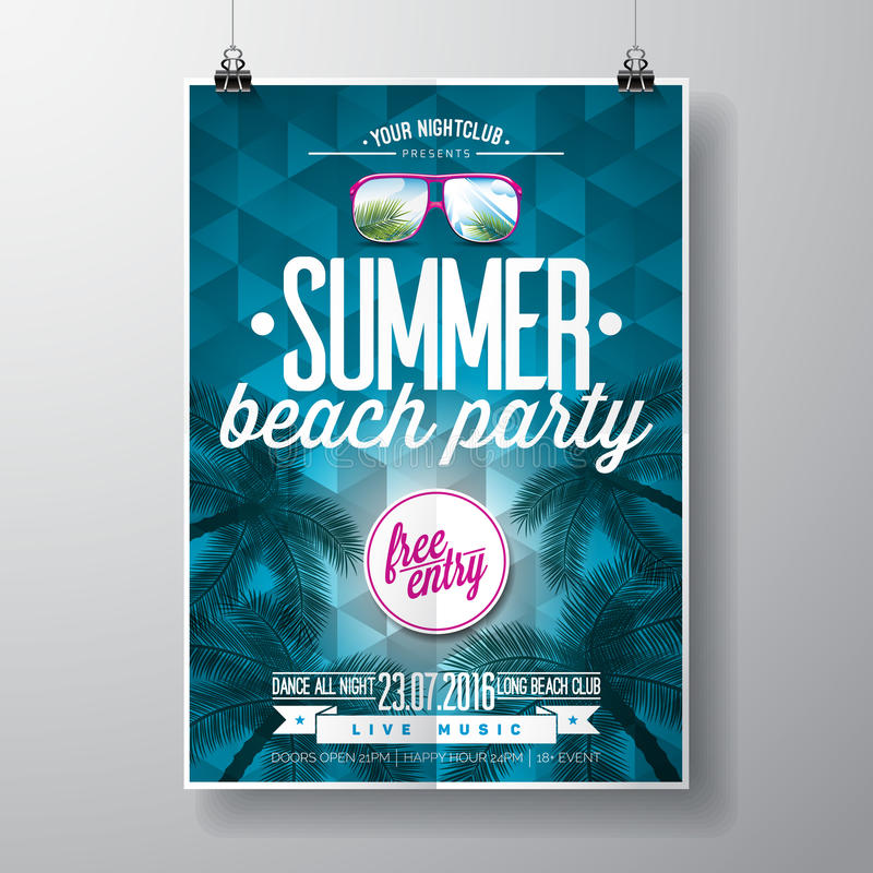 Vector Summer Beach Party Flyer Design with typographic elementson blue triangle background. royalty free illustration