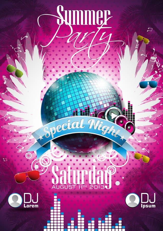 Free Vector Summer Beach Party Flyer Design With Disco Ball Stock Photo - 30379880