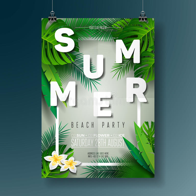 Vector Summer Beach Party Flyer Illustration with typographic design on nature background with palm leaves. Vector Summer Beach Party Flyer Illustration with royalty free illustration