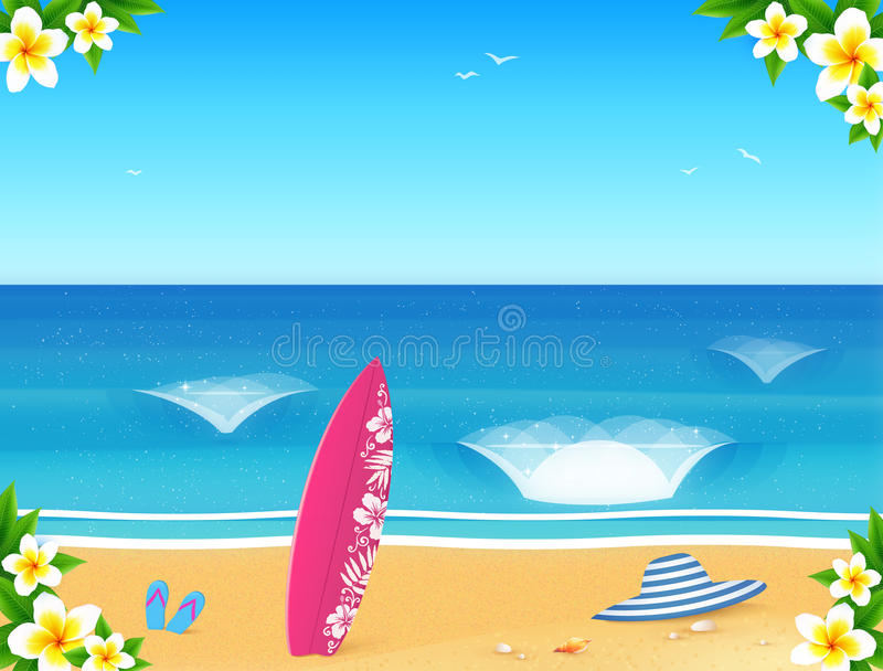 Vector summer beach postcard template with sand, waves, surfing board, hat and slippers vector illustration